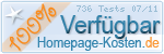 PixelX Webhosting Verfuegbarkeit 100% Juli 2011 bei Homepage-Kosten.de