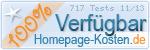 PixelX Webhosting Verfuegbarkeit 100% November 2013 bei Homepage-Kosten.de