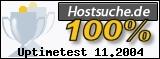 PixelX Webhosting Verfuegbarkeit 100% November 2004 bei Hostsuche.de