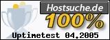 PixelX Webhosting Verfuegbarkeit 100% April 2005 bei Hostsuche.de