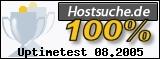 PixelX Webhosting Verfuegbarkeit 100% August 2005 bei Hostsuche.de