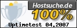 PixelX Webhosting Verfuegbarkeit 100% April 2007 bei Hostsuche.de