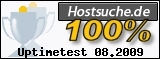 PixelX Webhosting Verfuegbarkeit 100% August 2009 bei Hostsuche.de