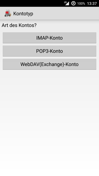 Android K-9 Mail Kontotyp