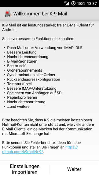 Android K-9 Mail Willkommen