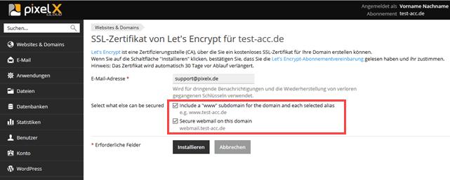 SSL-Zertifikat von Let\'s Encrypt in Plesk Onyx | Hilfe | PixelX