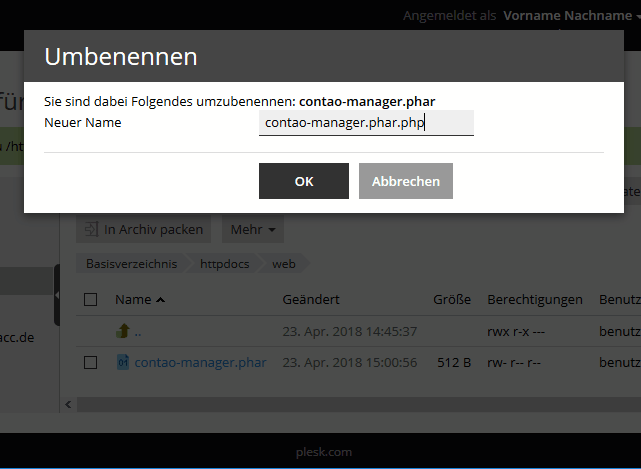 Plesk Filemanager - Datei umbenennen