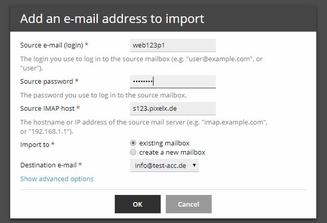 E-Mail Postfach importieren beim Serverumzug | Hilfe | PixelX