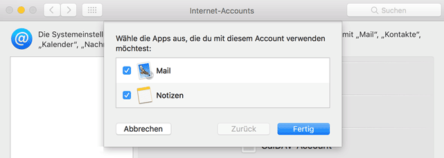 macOS Mail Mail App Auswahl