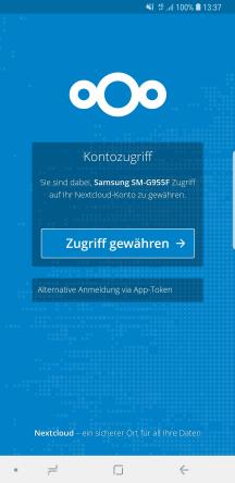 Android Nextcloud Client Kontozugriff