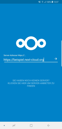 Android Nextcloud Client Server-Adresse Eingabe