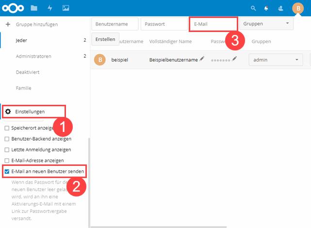 Nextcloud Benutzer E-Mail Adresse anzeigen