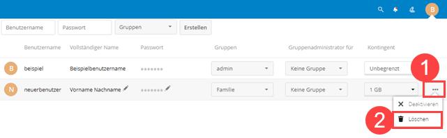 Nextcloud Benutzer löschen