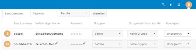 Nextcloud Benutzer verwalten
