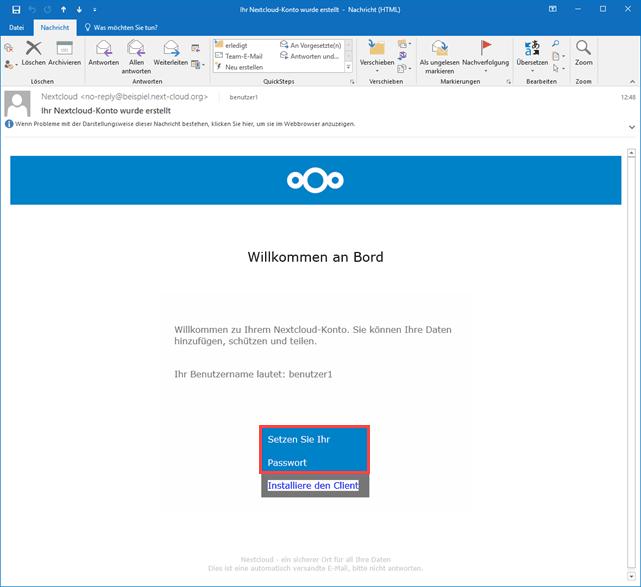Nextcloud Passwort E-Mail