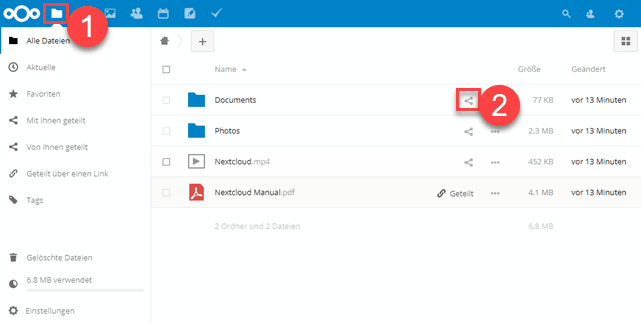 Nextcloud Datei-Manager