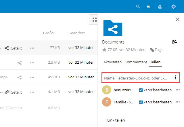 Nextcloud Ordner mit Benutzern und Gruppen teilen