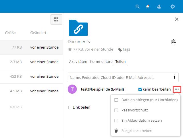 Nextcloud Berechtigungen für geteilte Daten mit E-Mail Link