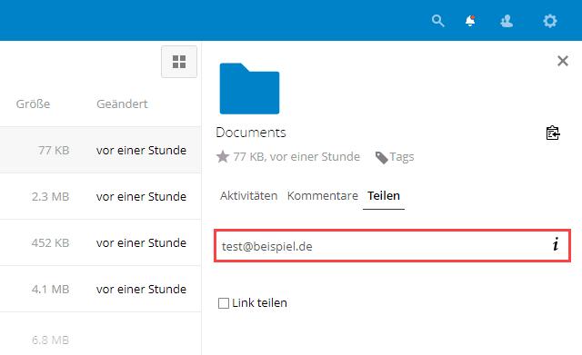 Nextcloud Dateien per E-Mail teilen