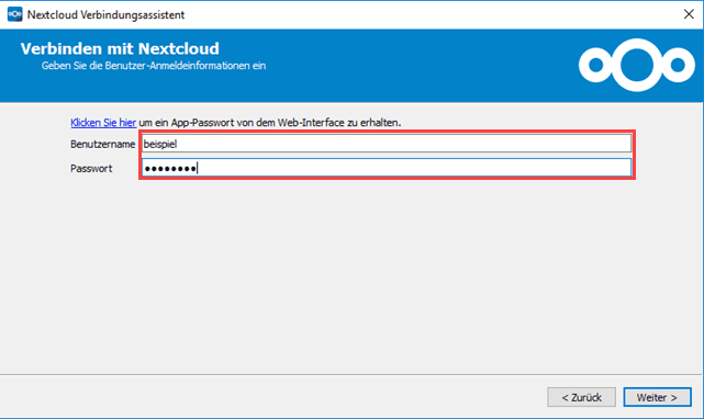 Nextcloud Verbindungsassistent Benutzeranmeldedaten