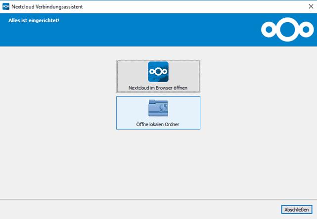 Nextcloud Verbindungsassistent - alles ist eingerichtet