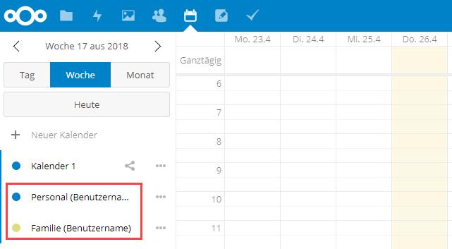 geteilten Nextcloud Kalender anzeigen