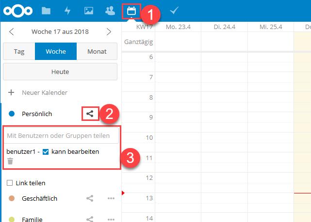Nextcloud Kalender mit anderen Benutzern und Gruppen teilen