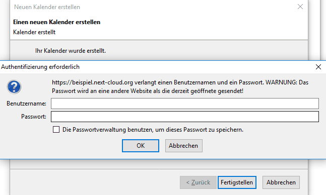 Thunderbird CalDAV Passwortabfrage