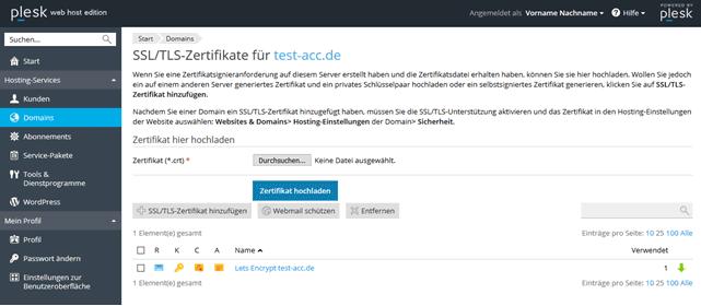 SSL-Zertifikat mit Plesk Onyx Let\'s Encrypt Extension | Hilfe | PixelX